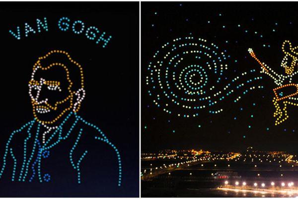 Xem 600 chiếc drone 'vẽ' cuộc đời danh họa Van Gogh trên trời đêm