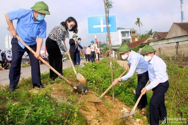 Hội Nông dân tỉnh Nghệ An trồng hơn 280 cây sao đen hưởng ứng Tết trồng cây