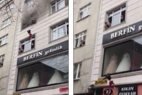 Cháy nhà, mẹ thả 4 con từ tầng 3 xuống đất khiến nhiều người 'hú vía'