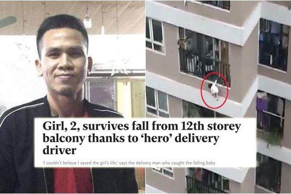 'Người hùng' cứu bé gái rơi từ tầng 12 ở Hà Nội lên báo Anh