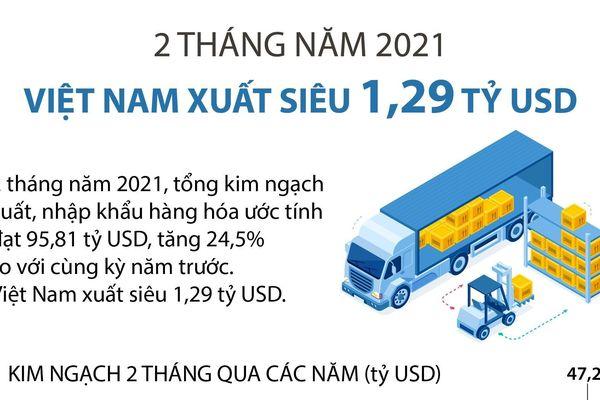 2 tháng năm 2021, Việt Nam xuất siêu 1,29 tỷ USD