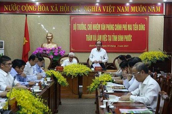 Bộ trưởng, Chủ nhiệm VPCP: Đẩy mạnh cải cách giúp Bình Phước trỗi dậy