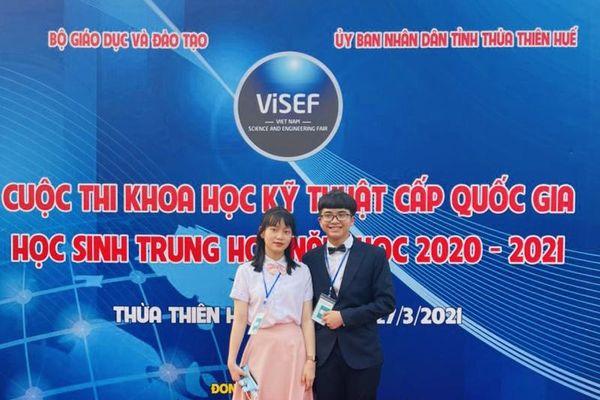 2 học sinh ở Thanh Hóa đoạt Giải Triển vọng tại Cuộc thi KHKT cấp Quốc gia dành cho học sinh trung học năm học 2020-2021