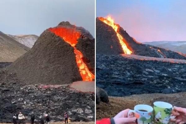 'Choáng' với cảnh chơi bóng chuyền, nướng xúc xích và uống cà phê trên miệng núi lửa