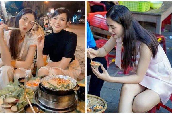 Khi hoa hậu đi ăn vỉa hè: Đỗ Hà - Lương Thùy Linh lái xe tay ga đi ăn đồ nướng, Tiểu Vy lúng túng vì váy ngắn