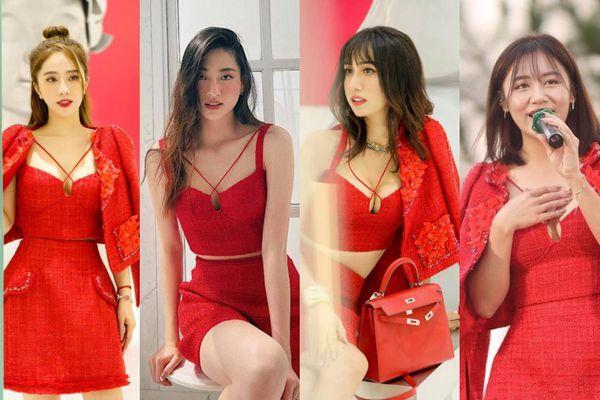 Lương Thùy Linh, Văn Mai Hương, Lynk Lee, Quỳnh Nga khoe vòng 1 'tràn viền' trong cùng chiếc váy đỏ