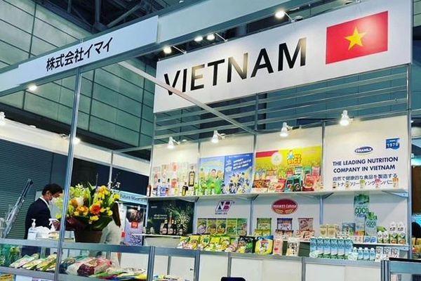 Nước giải khát mang thương hiệu Việt trưng bày tại Foodex Japan 2021