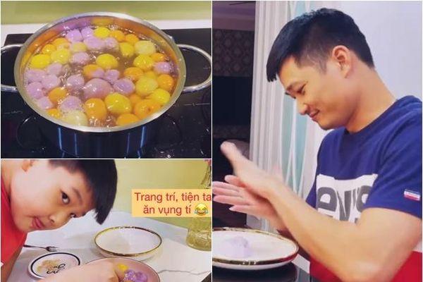 Con trai Bảo Thanh làm bánh trôi màu sắc, ai cũng phì cười vì lời thú nhận của bé
