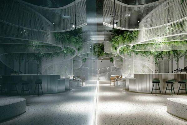 Độc đáo quán cà phê chứa cả khu vườn bay giữa không trung