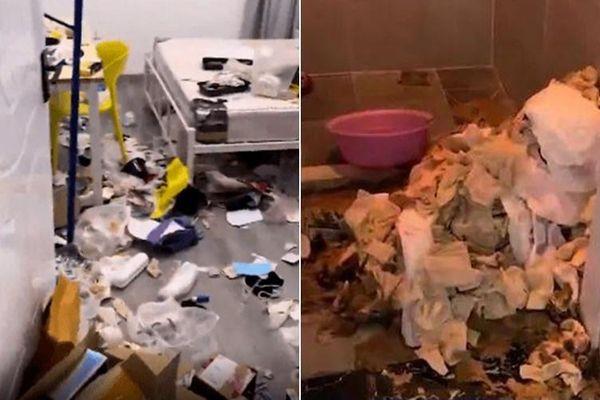 Sốc nặng với căn phòng của 2 gái xinh: Rác rải khắp nơi, giấy vệ sinh đã qua sử dụng chất thành núi