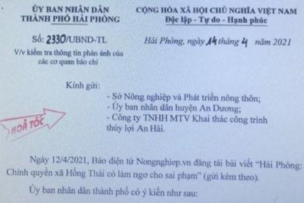 Hải Phòng kiểm tra, làm rõ phản ánh của Báo Nông nghiệp Việt Nam