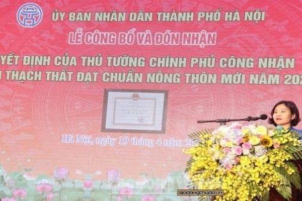 Huyện Thạch Thất đón nhận Bằng công nhận huyện đạt chuẩn nông thôn mới