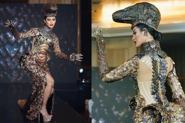 Hoa hậu Hoàn vũ Indonesia 2020 gây chú ý với trang phục dân tộc hình rồng Komodo