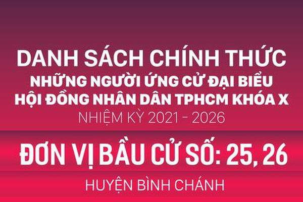 Đơn vị bầu cử số: 25, 26 (huyện Bình Chánh)