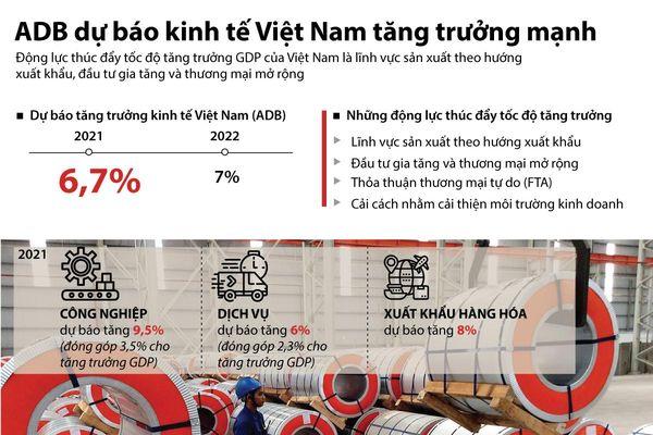 ADB dự báo kinh tế Việt Nam tăng trưởng mạnh mẽ