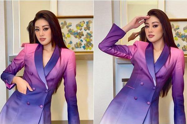 Khánh Vân nổi bật với bộ vest ombre, chính thức bước vào ngôi nhà chung để giành vương miện Miss Universe
