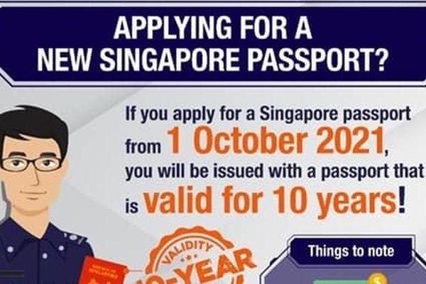Từ tháng 10, hộ chiếu Singapore sẽ có hiệu lực 10 năm