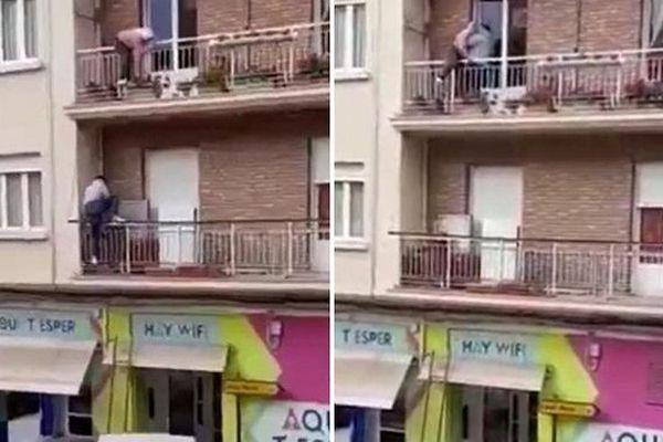 Người anh hùng nhanh trí giải cứu bà cụ khỏi bị ngã từ ban công