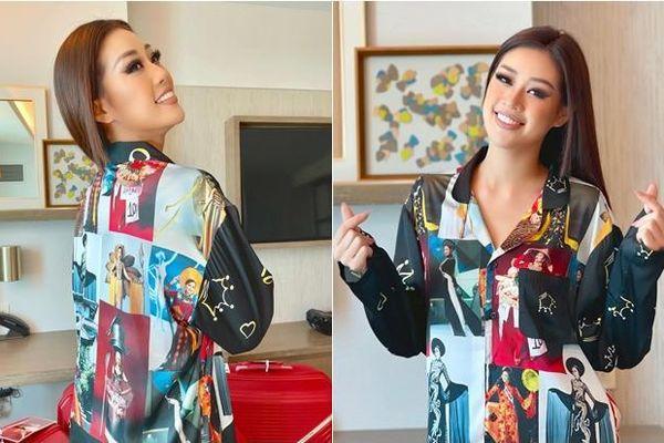 Khánh Vân chơi lớn với trang phục in hình 'đại gia đình Hoàn vũ' để tiếp thêm lửa tại Miss Universe