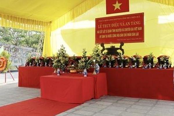 Truy điệu và an táng 14 hài cốt liệt sĩ hy sinh tại chiến trường Lào