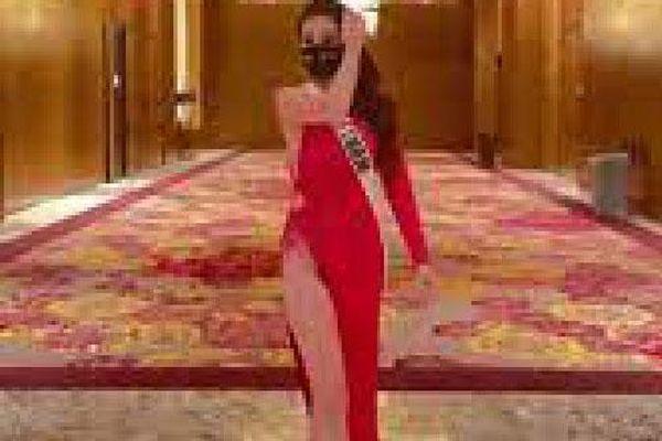 Khánh Vân diện váy xẻ cao hết cỡ tại Hoa hậu Hoàn vũ, khiến người xem hú hồn chỉ sợ 'lộ hàng'