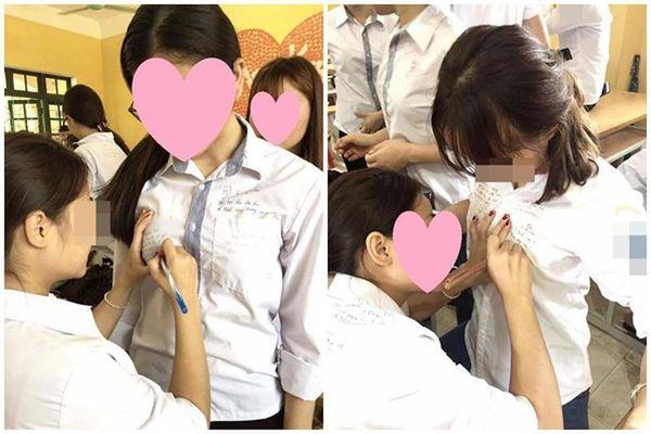 Ký lưu bút lên vị trí nhạy cảm trên áo, nữ sinh gây bức xúc