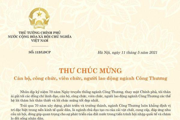 Thủ tướng gửi thư chúc mừng nhân Ngày truyền thống ngành Công thương