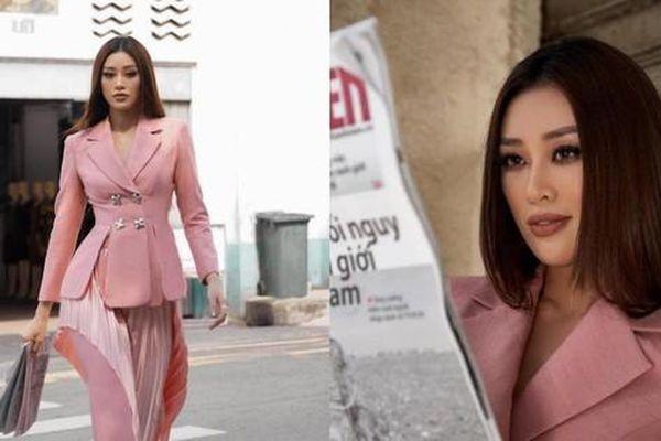 Hoa hậu Khánh Vân diện set đồ hồng, khoe thần thái đỉnh cao sẵn sàng cho đêm Bán kết