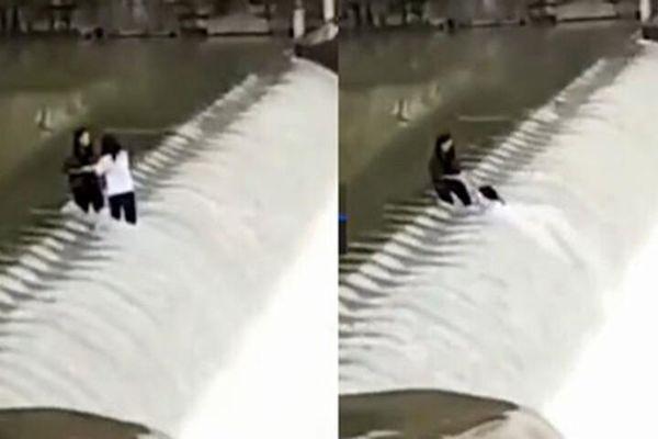 Đang chụp ảnh tự sướng bên đập nước, hai cô gái bị cuốn trôi