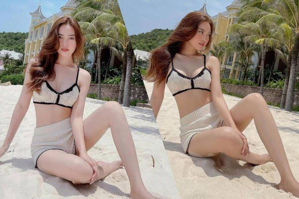 Ninh Dương Lan Ngọc diện bikini len móc thả dáng quyến rũ trên bãi cát