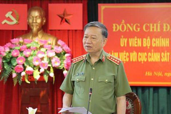Bộ trưởng Tô Lâm làm việc với Cục An ninh Nội địa và Cục Cảnh sát môi trường