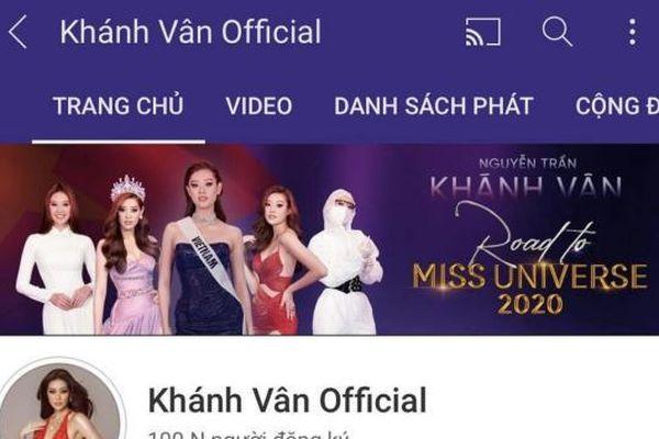 Hoa hậu Khánh Vân vui mừng nhận nút bạc Youtube