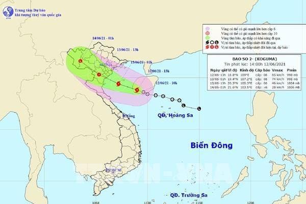 Bão số 2 vào Vịnh Bắc Bộ, gió giật cấp 9-10, mưa to từ Thanh Hóa đến Thừa Thiên-Huế
