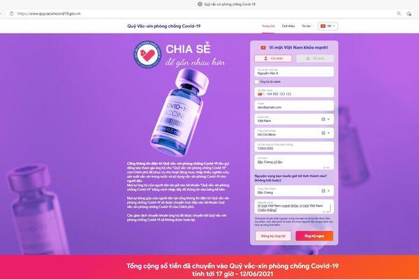 Website Quỹ vaccine phòng COVID-19 - Kênh tương tác trực tuyến cho nhà tài trợ