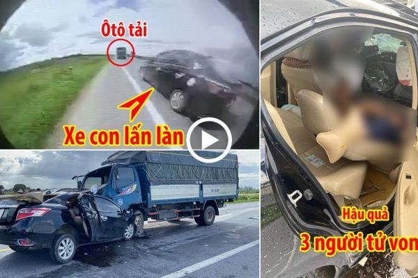 Ô tô con lấn làn ''đối đầu'' xe tải, 3 người tử vong tại chỗ