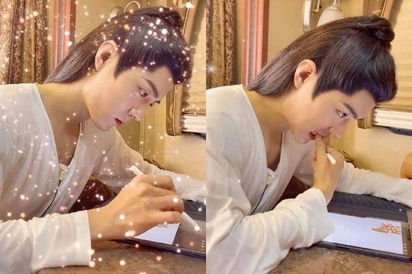 Tiêu Chiến vừa cắn móng tay vừa vẽ tặng fan ở hậu trường 'Ngọc cốt dao': Thời Ảnh thế này ai nỡ không yêu