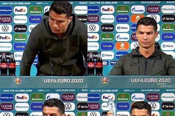 Cristiano Ronaldo bực tức vì thấy chai Coca ở bàn họp báo