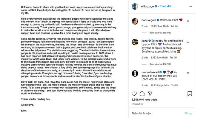 Elliot Page trở lại mạng xã hội lần đầu tiên sau khi công khai chuyển giới