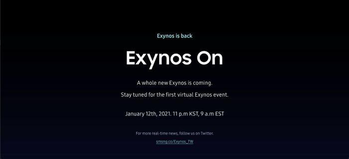 Samsung gửi thư mời sự kiện Exynos On 2021 vào ngày 12/1