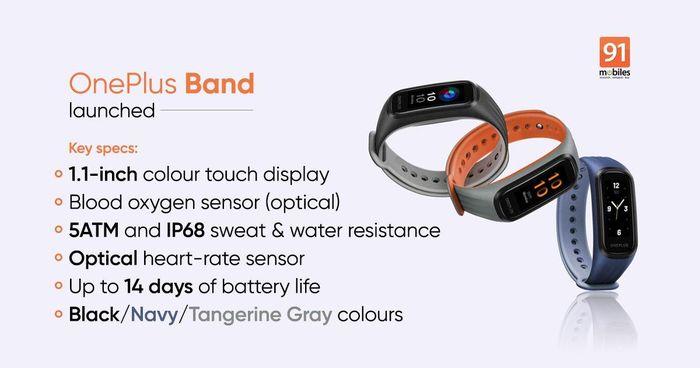 OnePlus Band ra mắt: Pin 14 ngày, đo SpO2, chống nước IP68, giá 34 USD
