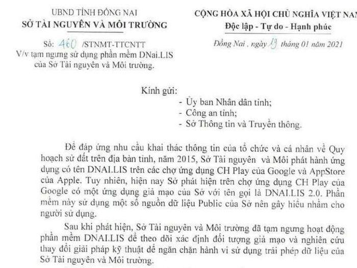 Ứng dụng tra cứu thông tin đất đai ở Đồng Nai bị giả mạo