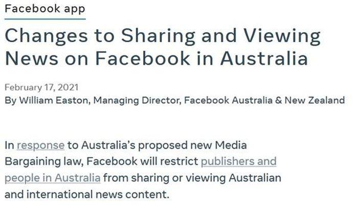 Facebook thể hiện quyền lực khi chặn chia sẻ tin tức ở Úc: 'Hôm nay là nước Úc, ngày mai sẽ là gì nữa?'