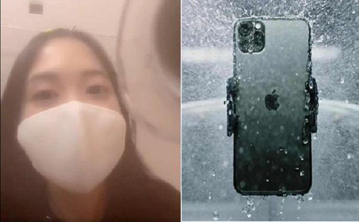 Rửa bằng vòi hoa sen, camera trước của iPhone 12 bị mờ