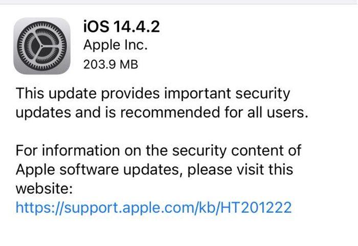 Apple phát hành iOS 14.4.2, khuyến cáo người dùng nên cập nhật ngay