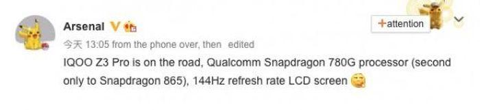IQOO Z3 Pro sẽ ra mắt với chipset Snapdragon 780G