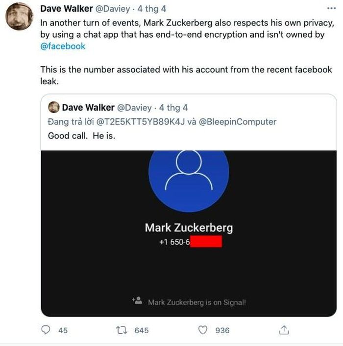 CEO Facebook chuyển sang dùng cả Signal