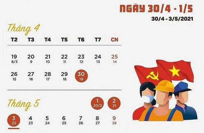 Lịch nghỉ lễ 30/4 và 1/5 năm 2021 của người lao động - Doanh Nhân Việt