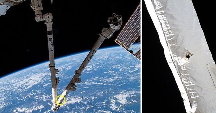 Rác không gian đâm thủng cánh tay robot của Trạm Vũ trụ Quốc tế ISS