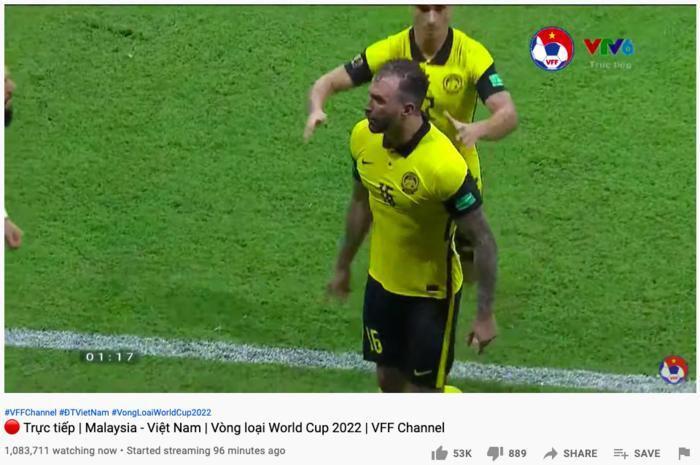 3 triệu người xem đội tuyển Việt Nam hạ gục Malaysia cùng lúc trên YouTube