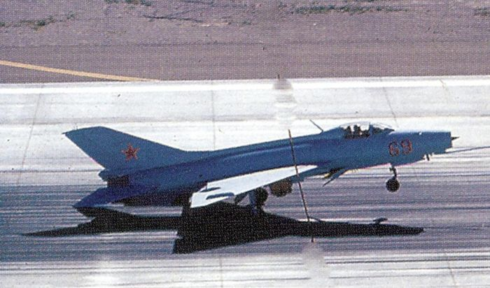 J-7B aircraft (made in China) of the Red Eagles squadron.
